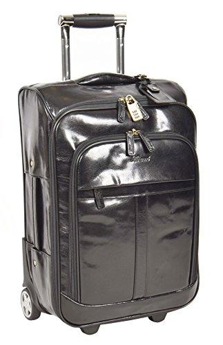 Echtes Leder Koffer Hütte Reisegepäck Trolley Wochenende Tasche Schwarz A0518