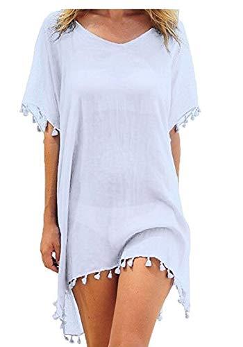 Damen Sommer Short Beach Kleid mit Pure Color Cover Bikini Kurzarm Bohemia Kleid mit kurzen Ärmeln (Farbe : Weiß, Größe : M) -