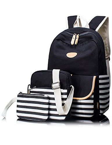 Leaper 3-in-1 Cute Thickened Canvas School Backpack Shoulder Bag Pencil Case Black