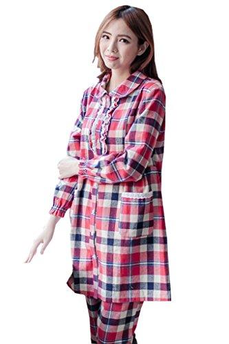 Bearsland dicono le donne che allattano e allattamento, taglia s-Plaid-Set pigiama a maniche lunghe RedBlack
