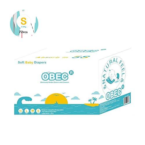 Mhxzkhl Bebé-Seco - Pañales para bebé con Canales de Aire, 3-6 kg, 72 pcs Pañales