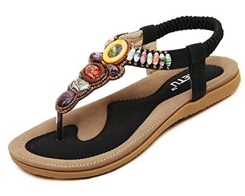 DONNA Sandali Beach Flip Flops piatta elastico T-Strap Post Sandali Pattini Rhinestone Estate Black