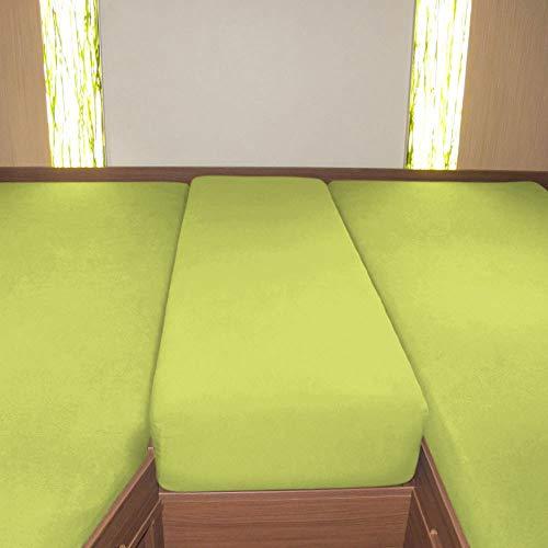 G BETTWARENSHOP Wohnmobil Wohnwagen Heckbett Spannbetttuch-Set 3-teilig apfelgrün, 2 Längsbetten + Mittelteil