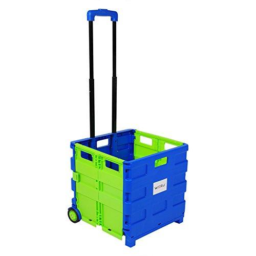 WOLTU EW4805gn Einkaufswagen 64L Einkaufstrolley Einkaufsroller Shopping Trolley klappbar bis 35kg 100x42x40,5cm Blau-Grün