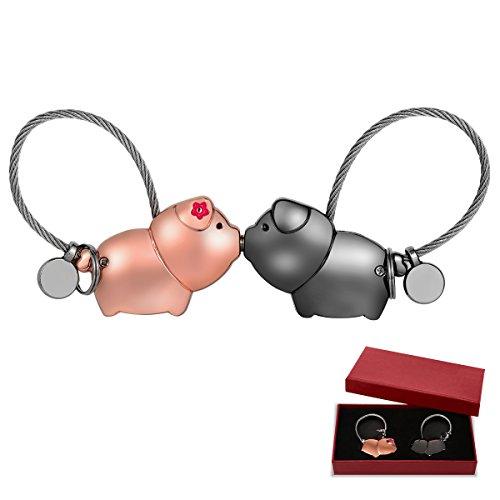 Schlüsselanhänger Paar ,Adkwse Schlüsselanhänger Paar Liebe,Abnehmbar Schlüsselanhänger süß mit magnetischen Mund, Geburtstagsgeschenk für Frauen Männer Freund Freundin