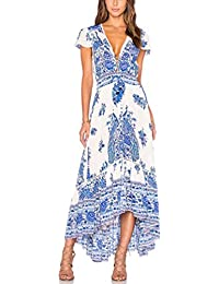 Vestito Lungo Donna Estivo Collo V Casual Elegante Bohemian Floreale Abito  da Spiaggia Retro alla Moda 88a300a85f2