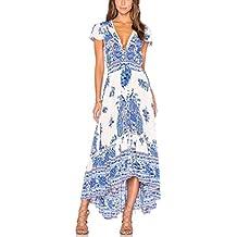 Mujer Vestidos Largos De Verano Vestidos Playa Elegantes Manga Corta V Cuello Casual Dulce Lindo Chic