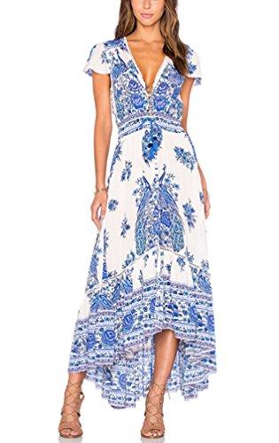 9bae03d773 ... Mujer Vestidos Largos De Verano Vestidos Playa Elegantes Manga Corta V  Cuello Casual Vintage Hippie Boho Flores Vestidos Verano Vestido Largo.  ¡Oferta!