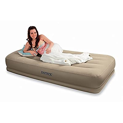 Intex Pillow Rest Mid-Rise Single Size Airbed with built-in electric pump #67742 - inexpensive UK light shop.
