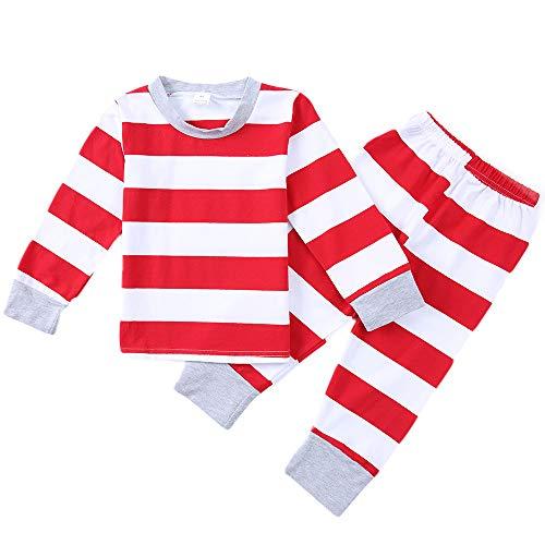 ing Jungen Mädchen Weihnachten Streifen Pyjamas Kleinkind Baby Kinder Festival Weihnachten Nachtwäsche PJS ()