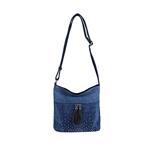 Blaue Nieten-handtasche (OBC DAMEN JEANS TASCHE SHOPPER Hobo-Bag Canvas Crossbody Bag Nieten Strasssteine Henkeltasche Schultertasche Umhängetasche Handtasche Glitzer (Dunkelblau 17x15x10 cm))