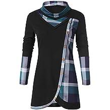 Luckycat Sudadera Mujer Larga sin Capucha Sudadera Casual Talla Grande Suéter Deportiva Camiseta Adornados Cuadros y