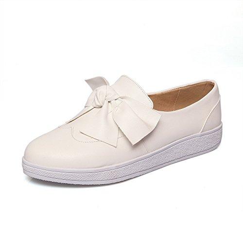 AllhqFashion Femme Tire à Talon Bas Pu Cuir Couleur Unie Rond Chaussures Légeres Blanc
