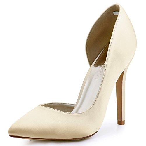 ElegantPark HC1601 Chic Escarpins Satin Femme Talon Haut Aiguille Bout Pointu D'orsay Chaussures de mariee Soiree Champagne