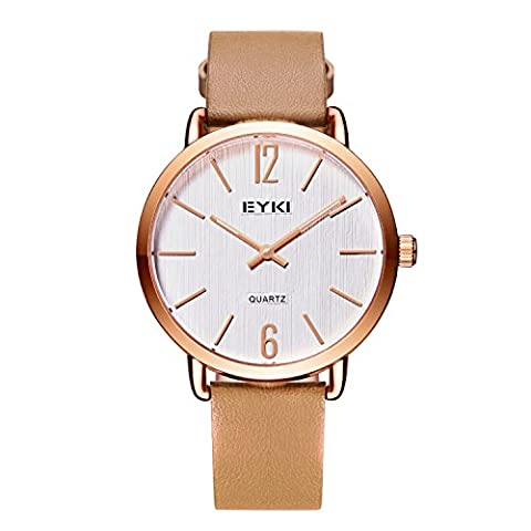 Damen-Armbanduhr - VOEONS - Minimalismus Leder Braun/Rosegold Damen Uhren E1078M