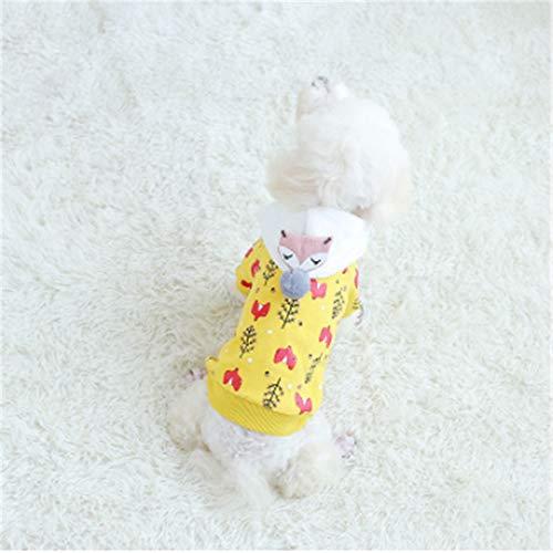 TMMDZZ Hundemantel Dog Hund Hoodies Kleidung, Pet Puppy Katze Niedlicher Baumwoll Warm Hoodies Coat PulloverGelbM