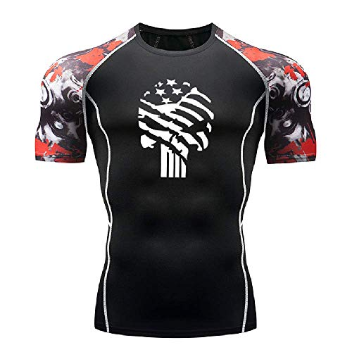 GERPY Herren T-Shirt Star Skull Enge Sport Fitness Kurzarm Sport unten Strumpfhosen - Rock Star Energy