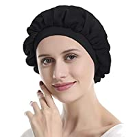 IPENNY Silk Shower Cap Sleep Cap Stretchy Night Cap Extra Large Adjustable Elastic Rubber Band Sleeping Cap for Sleep, Hair Loss, Hair Protection,Head Cover