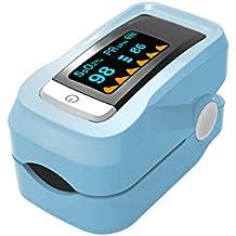 truscend Pro Serie Fingertip Pulsioxímetro sangre la saturación de oxígeno monitor con cubierta de silicona, pilas y cordón, color azul