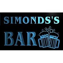 Cartel Luminoso w006543-b SIMONDS Name Home Bar Pub Beer Mugs Cheers Neon Light Sign