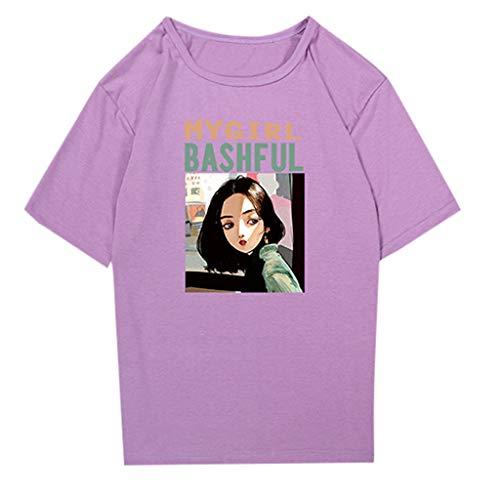 CUTUDE Damen T Shirt, Bluse Kurzarm Sommer Frauen Blumen V-Ausschnitt Ärmellos Crop Top Weste Tank Shirt Bluse (Lila, XXX-Large) (Titans Teen Schuhe)