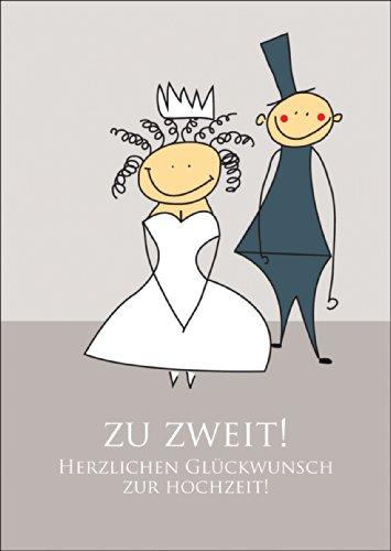 Glückwunschkarte mit Brautpaar: Zu zweit! Herzlichen Glückwunsch zur Hochzeit! • auch zum direkt Versenden mit ihrem persönlichen Text als Einleger. ()