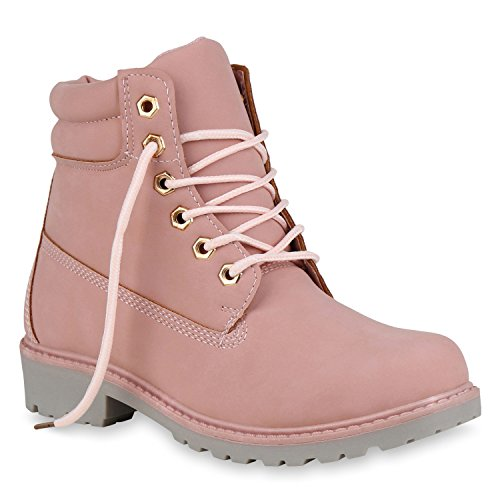 Stiefelparadies Unisex Damen Herren Boots Bequeme Worker Boots Profilsohle Outdoor Schuhe 146085 Rosa Carlet 38 Flandell - Rosa Timberland Boots Frauen