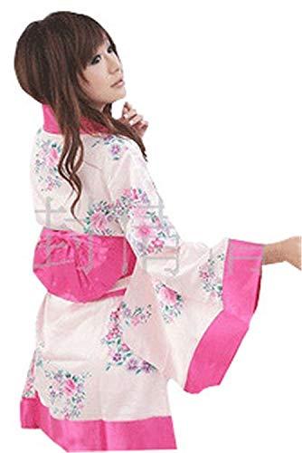 Betrothales Reizvoll Damen Schlafanzug Nachthemd Reiz Kimono Nachtwäsche Sleepwear Japan Unter Sche Wärmen Nachtkleid Wärmen Sche Erotik Schlafanzug Negligee Dessous (Color : Weiß, Size : One Size)