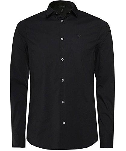Emporio Armani Herren Slim-Fit Stretch Shirt Schwarz L
