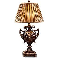 JILAN HOME- Lámpara De Mesa Lámpara De Pie Palacio De Estilo Europeo Retro Pasillo Salón De Escritorio Lámpara De Mesa Grande Lámpara Decorativa De Lujo Lámpara Pastoral De Resina Eólica E27