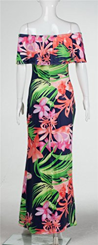 Imprimé Sexy bretelles Ruffles Floral Bodycon Party Clubwear Maxi Dress Vert