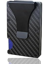KOBWA Mini Cartera de Fibra de Carbono con Clip para Tarjetas de Crédito, Bloqueo RFID antiescaneo de Metal