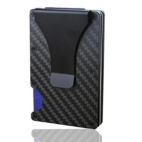 61b74c395e Kobwa Carbon Fiber mini uomo in pelle, slim portafoglio porta carte di  credito RFID Blocking