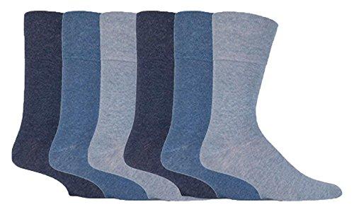Gentle Grip – Mens 6 pairs of Diabetic Sock with Honey Comb Top and Hand linked Toe Seams – 6-11 UK 39-45 Eur, Blue, 6-11 UK 39-45 eur