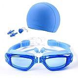 ACOMG Schwimmbrillen-Bundle umfassen einstellbare Brillen mit Ohrstöpsel, Badekappe, Nasenklammer, Schwimmbrillen mit Anti-Fog-UV-Schutz für Erwachsene und Jugendliche,Blue2