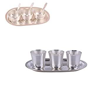 """Silver Plated 3"""" Met Finish 3 Bowl Set with Oval Tray and Silver Plated 3 Flower Glass Set with Oval Tray"""