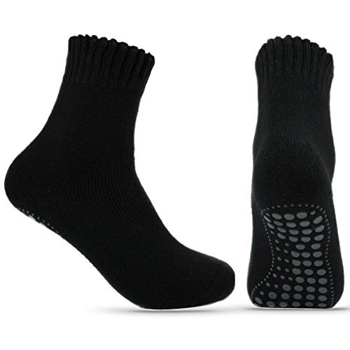 2 Paar ABS Wollsocken warm mit Anti Rutsch Socken Stoppersocken Noppensocken (blau, 43-46)