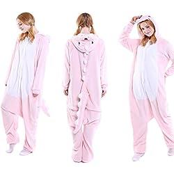 Lolidress - Pijama de una pieza - para mujer Beige dinosaurio rosa XL