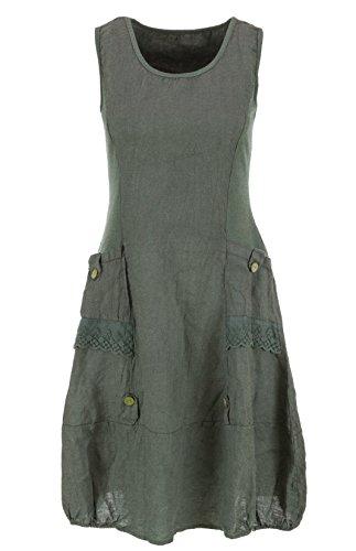 Leinenkleid ärmellos mit Spitze Olivgrün 42 (Olive Farbe, Kleider)