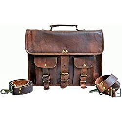35 Cm Bolso Bandolera Laptop Bag Bolsa De Hombro Cuerpo Cruzado Grande para Mensajero Mensajeria De Cuero Piel Marron Portatil Notebook Bag College Office Hombre Y Mujer Leather Messenger Bag