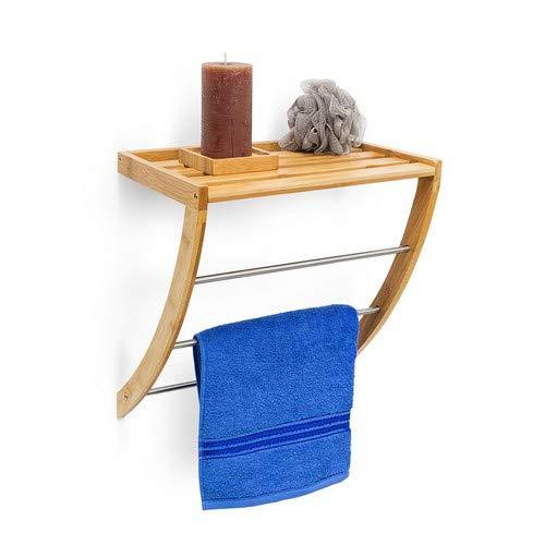 Relaxdays Wandhandtuchhalter aus Bambus mit 3 Handtuchstangen aus verchromtem Metall HBT 40 x 38 x 24,5 cm Badregal Plus Badetuchhalter als Handtuchregal feuchtigkeitsresistentem Holz, Natur -