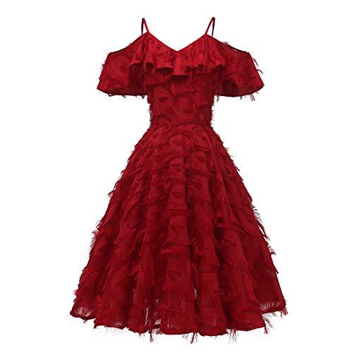 YUHUALI Damen 2019 Herbst und Winter gekräuselte Fransen Abendkleid Brautjungfer Ball Retro-KleidWeinrot XL