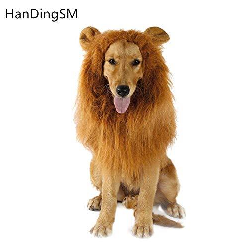 HanDingSM Hund Kostüm Lion Mähne Perücke für Hund lustige Halloween verkleiden Sich Cosplay, geeignet für mittlere und große Hunde ()