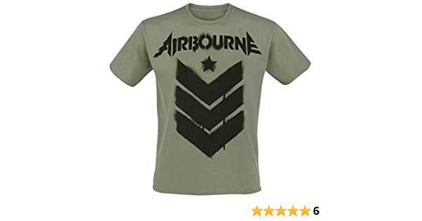 Bands Airbourne Red Logo Mono Scorch M/änner T-Shirt schwarz Band-Merch