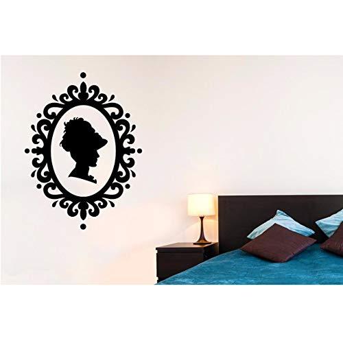 Syssyj Frau ProfilRahmen Dame Silhouette VinylNouveau Wandaufkleber Schlafzimmer AbnehmbareInnenwand Decor 57 * 42 Cm