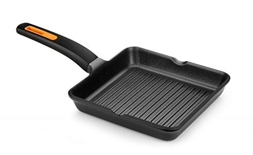 Braisogona Efficient Plus - Parrilla cuadrada de aluminio fundido, color negro, aluminio fundido, negro, 28 cm