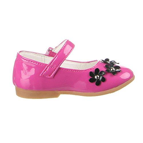 Kinderschuhe Ballerinas Mädchen Blumen Deko Halbschuhe Schwarz Orange Pink Rot 21 22 23 24 25 Orange ghXDBsMwmF
