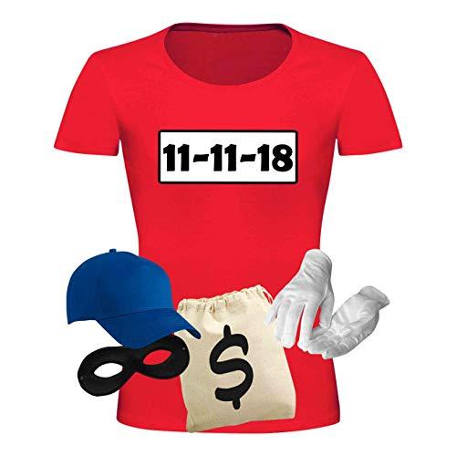 T-Shirt Panzerknacker Kostüm-Set Deluxe+ Cap Maske Karneval Damen XS - 3XL Fasching JGA Sitzung Weiberfastnacht, Größe:2XL, Logo & Set:11.11./Set Deluxe+ (11.11.XX/Shirt+Cap+Maske+Hands.+Beutel)