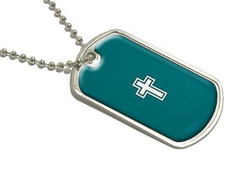 Cross - Christian Teal - Military Dog Tag Luggage Keychain