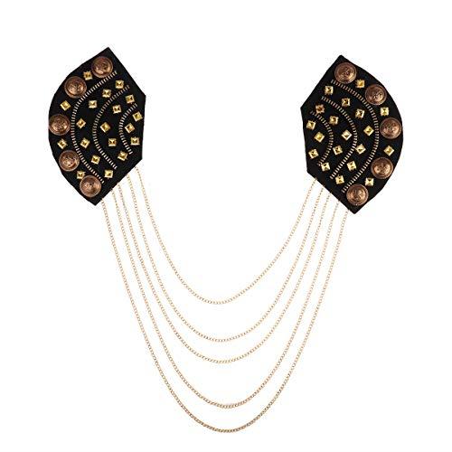 dPois Erwachsene Schulterklappen Epaulette mit Fransen Ketten Schulter Brosche Uniform Cosplay Kostüm Zubehör Unisex Schmuck für Party Fasching Schwarz & Gold One Size